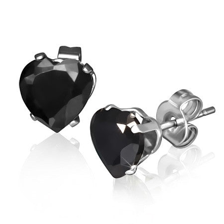 Stainless Steel Black CZ Love Heart-Shaped Womens Girls Stud Earrings