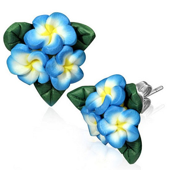 Fashion Alloy Polymer Clay Three Blue White Hawaiian Flowers Stud Earrings