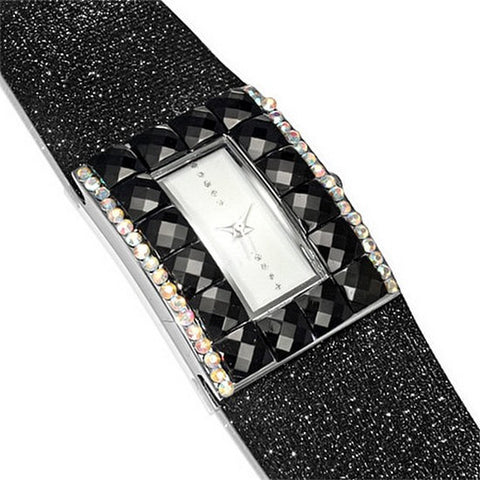 Fashion Alloy Black White Multicolor CZ Rectangle Face Womens Watch