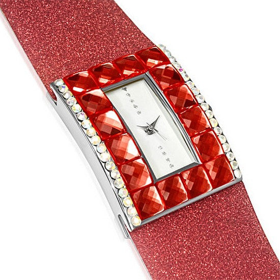 Fashion Alloy Red White Multicolor CZ Rectangle Face Womens Watch