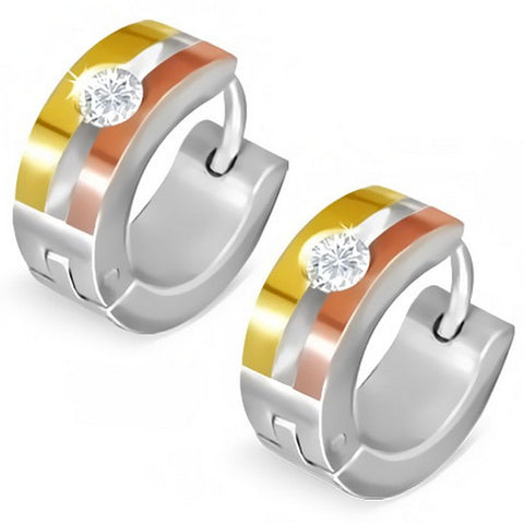 Stainless Steel Yellow Rose Gold-Tone White CZ Womens Hoop Huggie Earrings