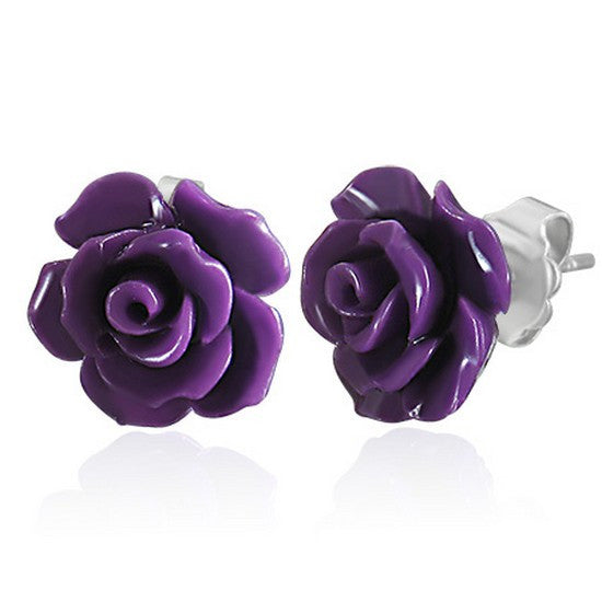 Fashion Alloy Polymer Clay Purple Violet Rose Flower Floral Stud Earrings
