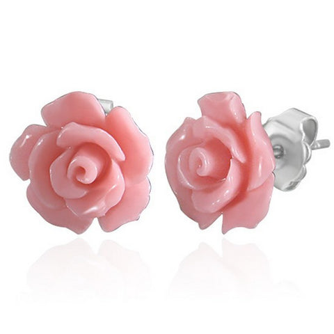 Fashion Alloy Polymer Clay Pink Rose Flower Floral Stud Earrings