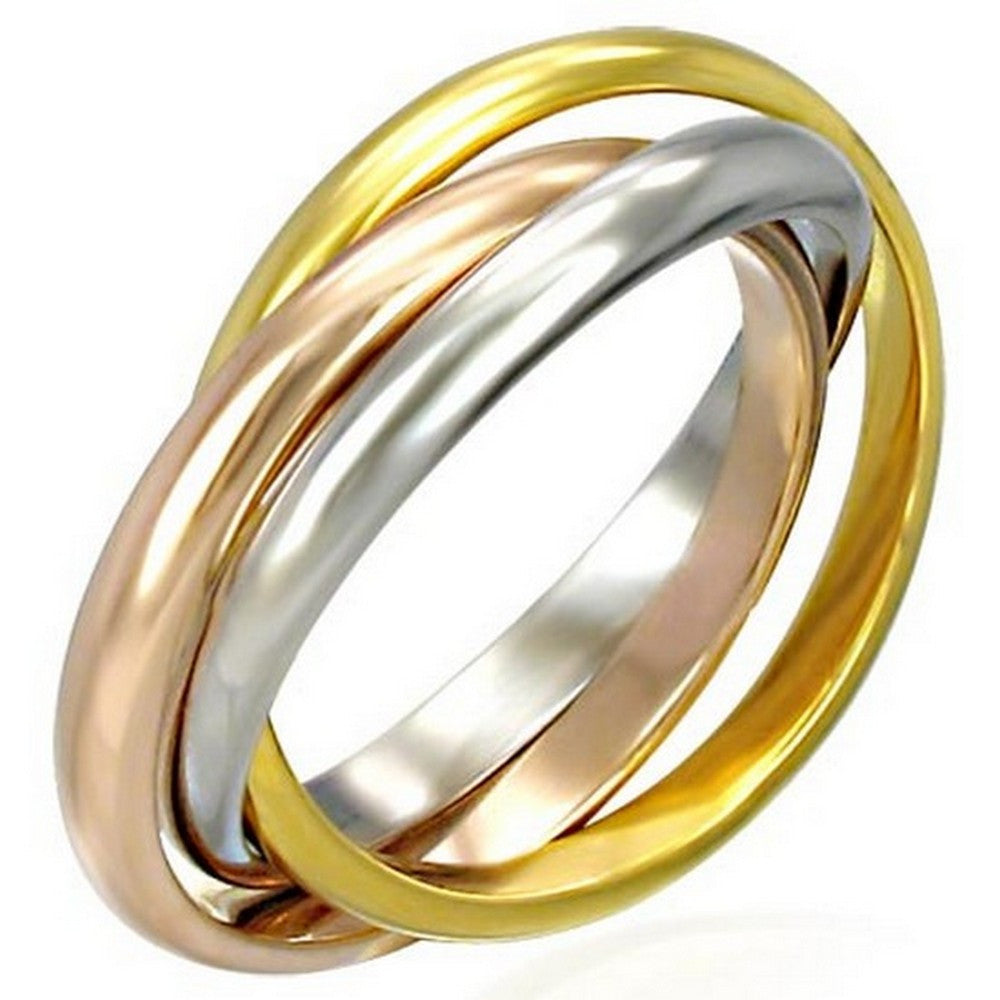 Stainless Steel Three Gold-Tone Interlocking Polished Ring Band Set, 3 mm Wide - Size 9.5