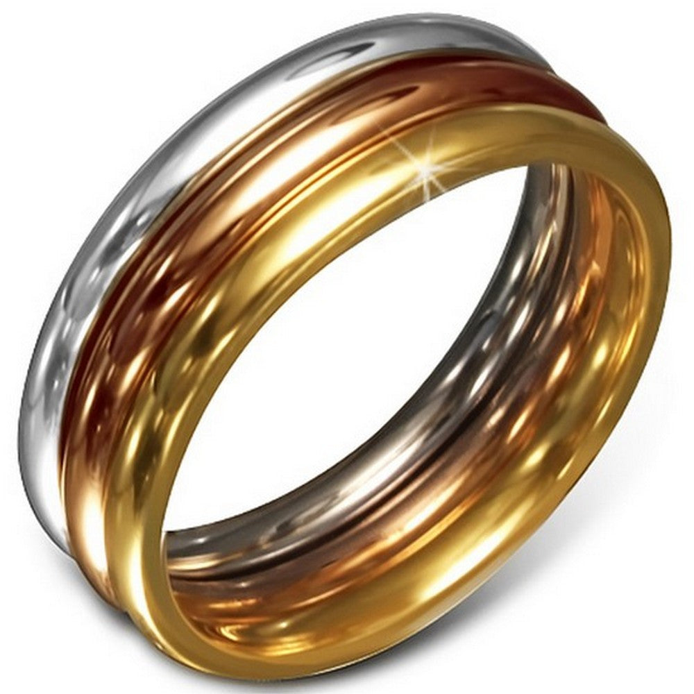 Stainless Steel Three Gold-Tone Stacking Polished Ring Band Set, 3 mm Wide - Size 9