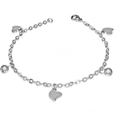 Stainless Steel Silver-Tone Love Heart Womens Adjustable Link Chain Bracelet