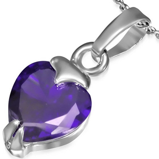 Fashion Alloy Silver-Tone Love Heart Purple Violet CZ Womens Pendant Necklace