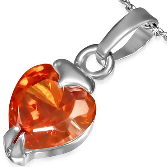 Fashion Alloy Silver-Tone Love Heart Orange CZ Womens Pendant Necklace