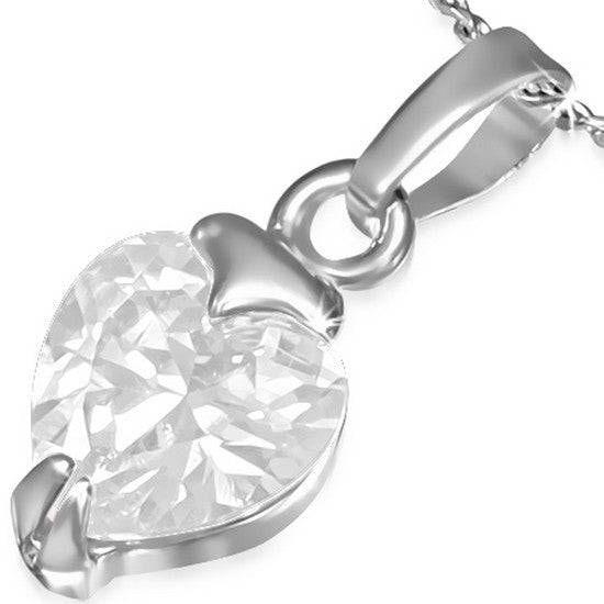 Fashion Alloy Silver-Tone Love Heart White CZ Womens Pendant Necklace