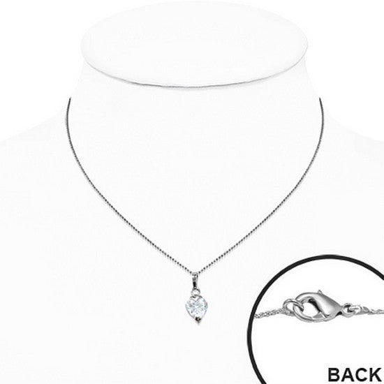 White Solitaire Cubic Zirconia Heart Necklace Pendant