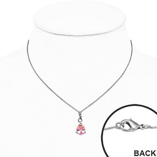 Pink Pear-Shaped Cubic Zirconia Solitaire Necklace Pendant Stainless Steel