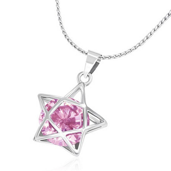 Fashion Alloy Silver-Tone Light Pink Star CZ Womens Pendant Necklace