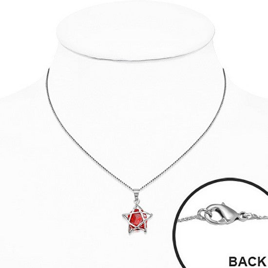 Red Cubic Zirconia Solitaire Star Stainless Steel Pendant Necklace