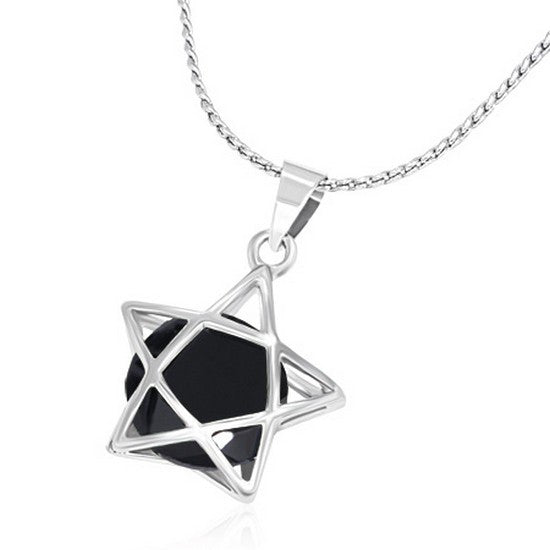 Fashion Alloy Silver-Tone Black Star CZ Womens Pendant Necklace