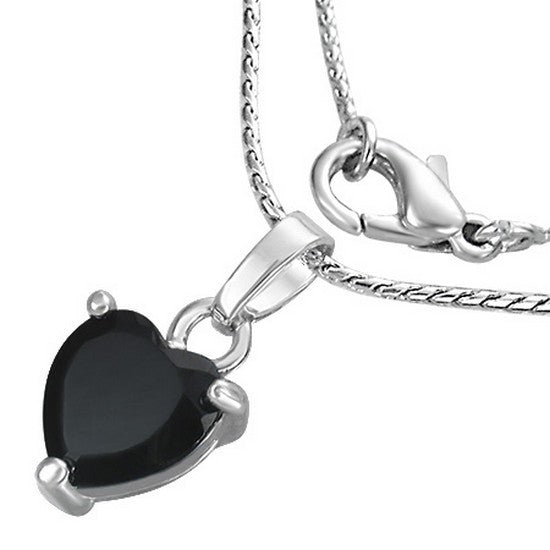 Fashion Alloy Silver-Tone Black Love Heart CZ Womens Pendant Necklace
