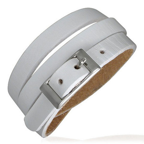 White Leather Alloy Silver-Tone Belt Buckle Wristband Wrap Multi-Layer Bracelet
