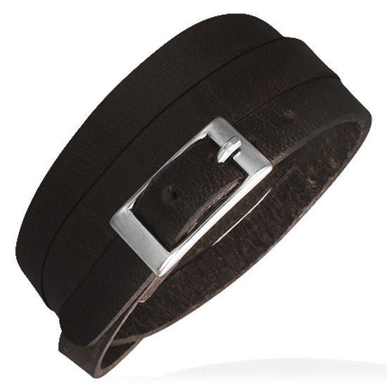 Black Leather Alloy Silver-Tone Belt Buckle Wristband Wrap Multi-Layer Bracelet
