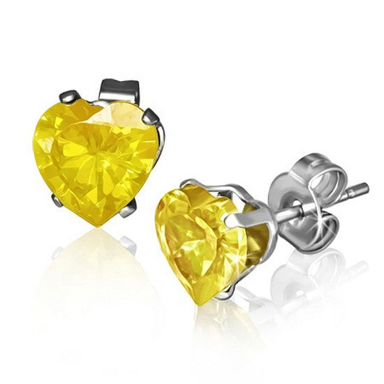 Stainless Steel Yellow Citrine-Tone CZ Love Heart-Shaped Stud Earrings