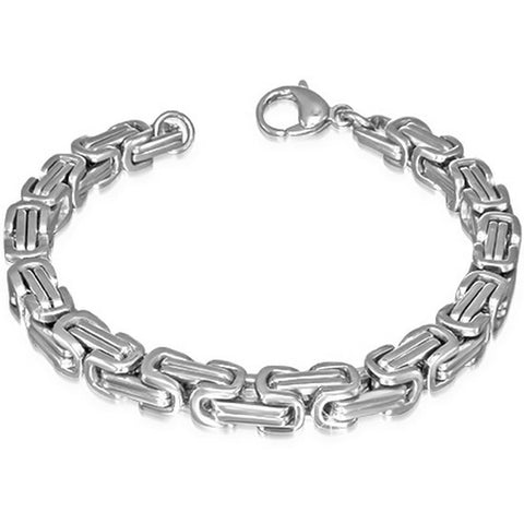 Stainless Steel Silver-Tone Mens Classic Link Chain Bracelet with Clasp