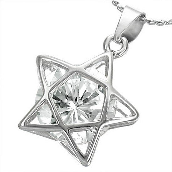 Fashion Alloy Silver-Tone Clear White Star CZ Womens Pendant Necklace