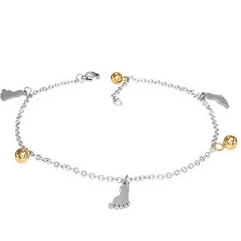 Stainless Steel Silver Yellow Gold-Tone Foot Feet Adjustable Anklet Bracelet