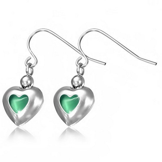 Stainless Steel Silver-Tone Love Heart-Shaped Green CZ Drop Dangle Earrings