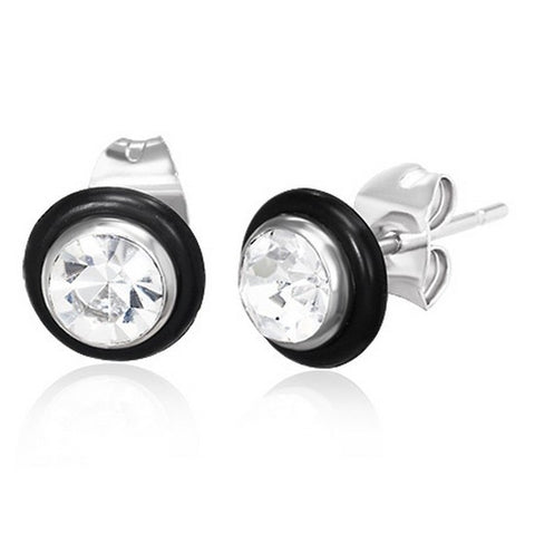 Stainless Steel Black Rubber Silicone Silver-Tone Round Classic White CZ Stud Earrings