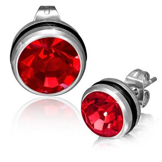 Stainless Steel Black Silver-Tone Round Classic Red CZ Stud Earrings