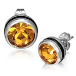 Stainless Steel Black Silver-Tone Round Classic Yellow CZ Stud Earrings