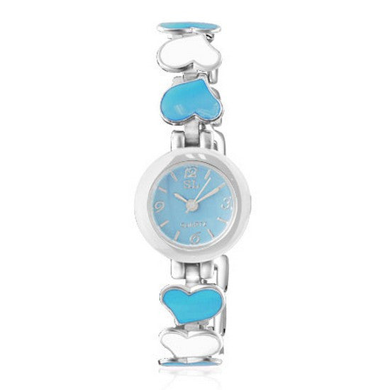 Fashion Alloy Love Heart Silver-Tone Blue White Round Dial Womens Bracelet Watch