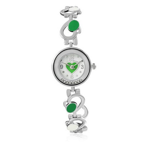 Fashion Alloy Silver-Tone Green White Round Dial Love Heart Womens Bracelet Watch