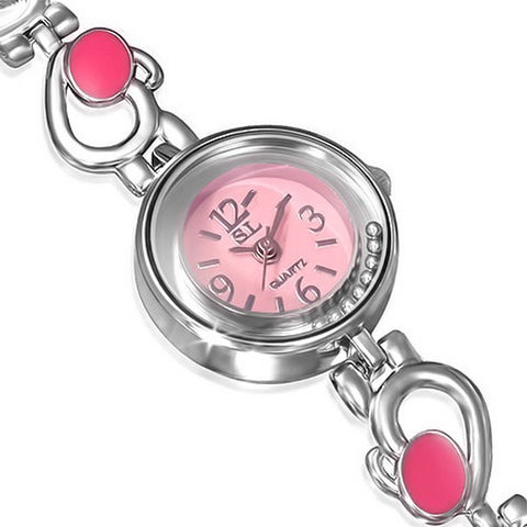 Fashion Alloy Silver-Tone Pink White Round Dial Womens Bracelet Watch