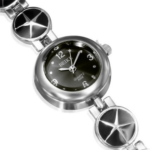 Fashion Alloy Silver-Tone Black Round Dial Womens Bracelet Watch