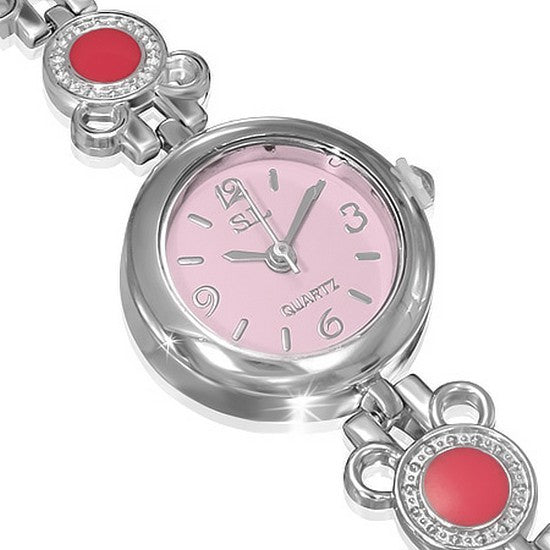Fashion Alloy Circle White Pink Dial Round Face CZ Womens Bracelet Watch