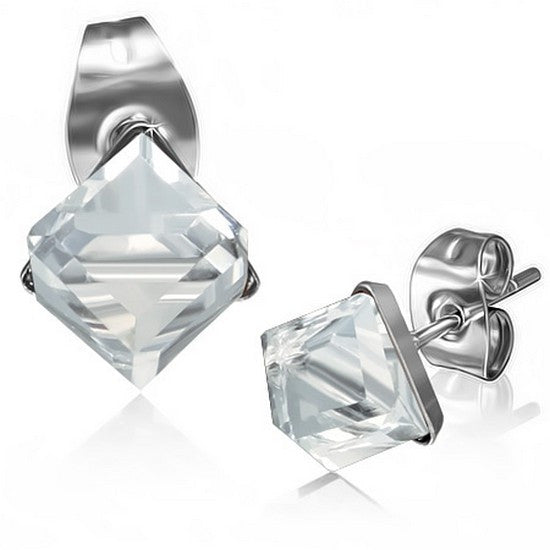 Stainless Steel Silver-Tone Square Classic Clear White CZ Stud Earrings