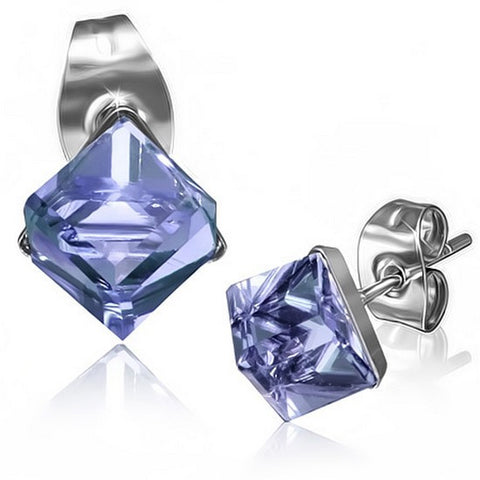 Stainless Steel Silver-Tone Square Classic Violet Purple CZ Stud Earrings