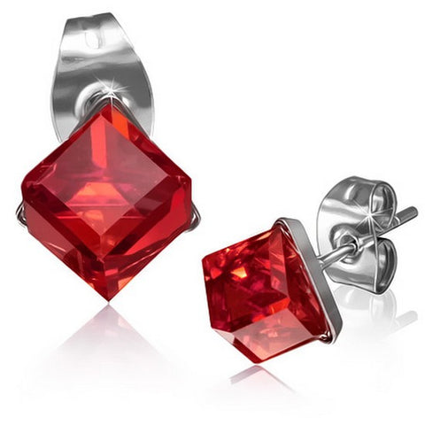 Stainless Steel Silver-Tone Square Classic Red CZ Stud Earrings