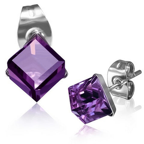Stainless Steel Silver-Tone Square Classic Purple CZ Stud Earrings