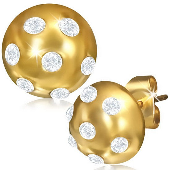 Stainless Steel Yellow Gold-Tone Round White CZ Stud Earrings