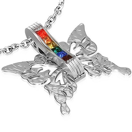 Stainless Steel Silver-Tone Multicolor CZ Rainbow Womens Pendant Necklace with Chain