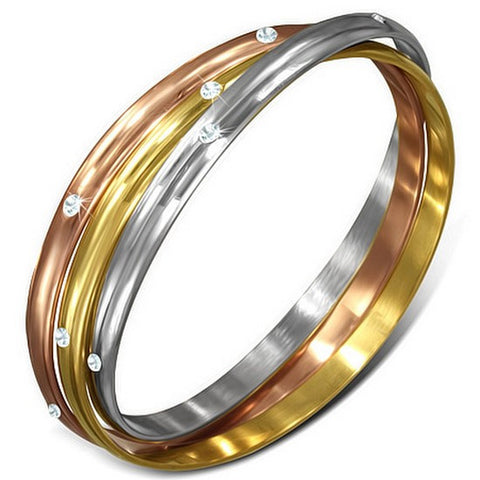 Stainless Steel Yellow Rose Gold Silver-Tone White CZ Three Interlocked Womens Bangle Bracelet Set