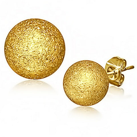 Stainless Steel Yellow Gold-Tone Glitter Womens Girls Round Stud Earrings