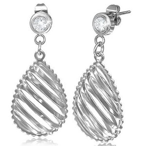 Stainless Steel Silver-Tone White CZ Classic Stud Dangle Drop Womens Earrings