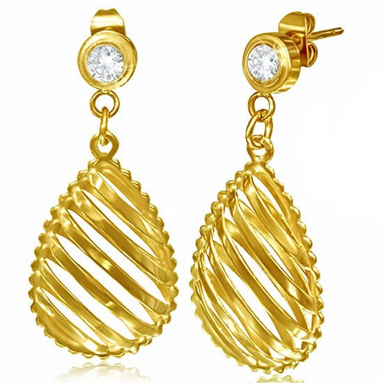 Stainless Steel Yellow Gold-Tone White CZ Classic Stud Dangle Drop Womens Earrings