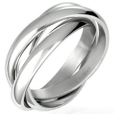 Stainless Steel Three Silver-Tone Interlocking Polished Ring Band Set, 4 mm Wide - Size 10.5