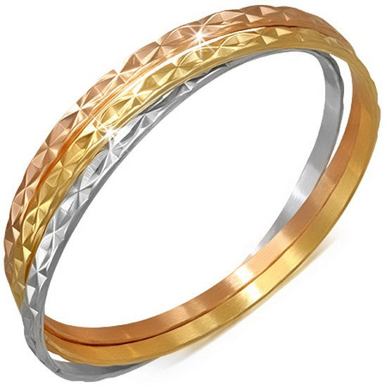 Stainless Steel Gold-Tone Silver-Tone Interlocked Womens Three Bangle Bracelet Set