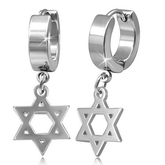 Stainless Steel Silver-Tone Classic Jewish Star of David Huggie Dangle Drop Womens Earrings