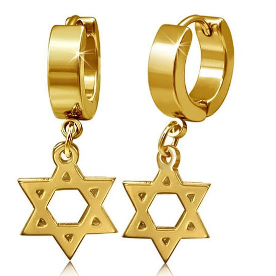 Stainless Steel Yellow Gold-Tone Classic Jewish Star of David Huggie Dangle Drop Womens Earrings