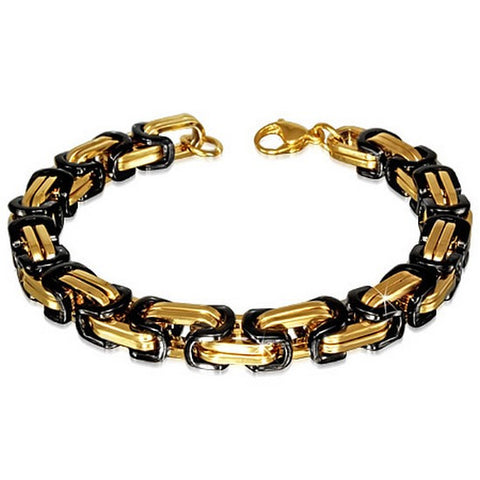 Stainless Steel Black Yellow Gold-Tone Mens Classic Link Chain Bracelet