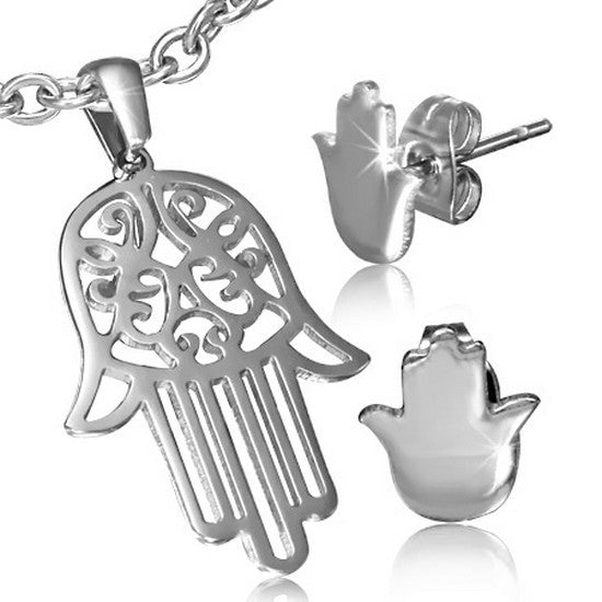 Stainless Steel Silver-Tone Hamsa Evil Eye Necklace Pendant Stud Earrings Set